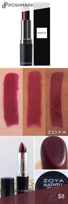 Zoya Maxwell #ZLS08 Lipstick Full size 0.14oz/4.2g Brand New in box; full size 0.14oz/4.2g  Maxwell by ZOYA is a deep plum with a subtle fuchsia fleck in a modern matte finish. Get luxe lips with just a touch of vamp!  Back to basics but even better; Zoya perfects the classic lipstick cream formula to allow lips to stay moist for hours without the mess. The medium wear formula is specifically designed to last 4 to 6 hours without cracking or drying. All this in a light weight yet well…