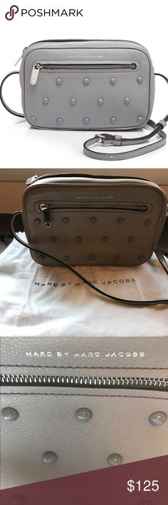 """Marc by MJ Cross body - Sally Stud Beautiful gray leather Sally Stud cross body bag. Color is Storm Cloud. Excellent used condition. 2 corners show minor wear - see pics. 9""""w x 3""""d x 5.5""""h Marc by Marc Jacobs Bags Crossbody Bags"""