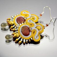 Gold & Brown Soutache Earrings Sun Incan Dangle by OzdobyZiemi