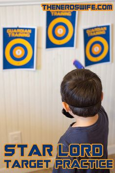 Star Lord Target Practice -- free printable download! Each guest at our Guardians of the Galaxy party got a Star Lord Mask and nerf gun so they could defend the universe! #OwntheGalaxy #ad