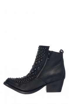 Jeffrey Campbell Shoes SIS-MERCY Booties in Black Nubuck Pewter