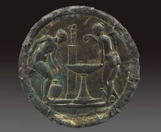 Mirror with women bathing before a statue of Aphrodite on a pillar, Roman, Eastern Mediterranean (?), Imperial Period, A.D. 110-117, Bronze; gilt bronze, reverse silvered, Museum of Fine Arts, Boston. Museum purchase with funds donated by Dr. Ernest and Virginia Lewisohn Kahn, Photograph © Museum of Fine Arts, Boston.