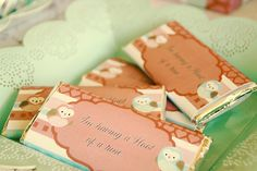 chocolate wrapped with owl themed cardstock