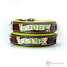 Collar de perro personalizado - Collar de perro de cuero acolchado - personalizar cuero Collar de perro - Collar hecho a mano con el Collar de perro personalizado nombre fileteado