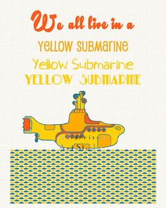 Beatles art print We all live in a yellow submarine by EEartstudio, $12.00