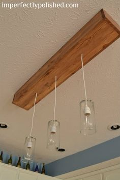 DIY Kitchen Pendant Lights {How to Change a Recessed Light to Three Pendants} | Imperfectly Polished