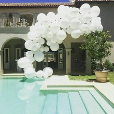 Villa in Paarl - engagement party installation for @BoutiqueStyling Giant white balloons, giant balloon installation and decor