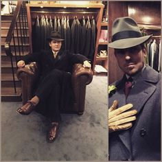 It's way past 6 o'clock, time to go home! The choices that were made by Tevin on this particular day: 30's fedora, suit by AW Bauer (1948), 30's overcoat of unknown origin. The boss is surprisingly colorful today: Blue Swedish 50's db overcoat, 50's unlined tie from Ströms, Borsalino Como (color charcoal) and yellow gloves, well they were yellow before he ate a toast without taking them off. #vintage #mensvintage #mensvintagecoat #mensvintagesuit #awbauer #ströms #borsalino #borsalinocomo…