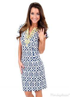 Wave After Wave Navy And White Dress   Monday Dress Boutique