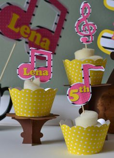12 Music Birthday Party Cupcake Toppers 3D  by bcpaperdesigns, $14.00