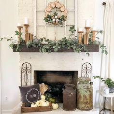 30 Stunning Living Room With Fireplace Decor Ideas - Does your home have a fireplace that you are currently not using very often? Or are you thinking about adding a fireplace, faux or real, to one of the. Farmhouse Side Table, Farmhouse Fireplace, Fireplace Mantle, Farmhouse Decor, Farmhouse Style, Modern Farmhouse, Rustic Style, Elegant Mantel Decorating Ideas, Fall Mantel Decorations