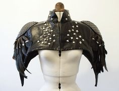 Black Feather, Studded, PVC Leatherette Cape with shoulder pads, for cosplays Tribal Fusion, Feather Cape, Leather Armor, Fantasy Costumes, Black Feathers, Mode Inspiration, Gothic Lolita, Larp, Wearable Art