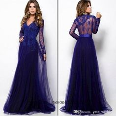 Wholesale Prom Dresses - Buy 2015 New Style Prom Dresses With V Neck Long Sleeves Lace Tulle Full Length Dark Royal Blue Evening Gowns See Through Back Long Party Dress, $101.04 | DHgate.com