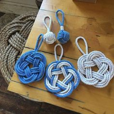 Nautical Rope Knot Sailor Ornaments made in USA. by Mystic Knotwork: mystickn. Nautical Christmas, Tropical Christmas, Christmas Crafts, Purple Christmas, Xmas, Beach Ornaments, How To Make Ornaments, Christmas Tree Ornaments, Rope Crafts