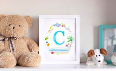 ✬☆ Personalised Beach Name Art Print ✬☆ Unframed Custom Initial and Name Artwork by Sweet Cheeks Images. $12 AUD