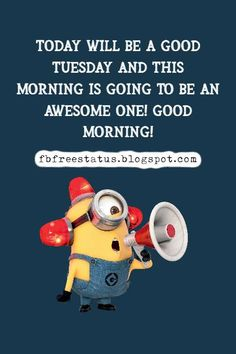 tuesday memes Happy Tuesday Meme, Happy Tuesday Morning, Tuesday Motivation Quotes, Funny Minion Pictures, Funny Happy, Morning Quotes, Motivational Quotes, Memes, Motivating Quotes