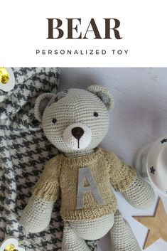86e56ea05ee Personalized crochet bear 13.8 inches Free shipping Custom memory bear  Organic toy teddy bear Personalized stuffed animal Crochet toys
