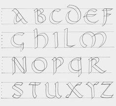 Práctica de la Caligrafía: Letra Uncial romana (S.IV) Hand Lettering Alphabet, Alphabet Art, Calligraphy Letters, Alphabet Fonts, Painted Letters, Monogram Letters, Pretty Writing, Alphabet Templates, Fancy Fonts