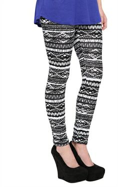Deb Shops Legging with Tribal Print $10.00