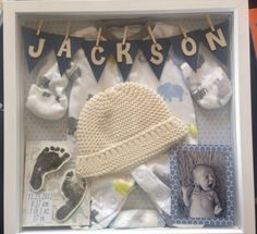 Baby shadow box. I used an outfit he wore in the NICU, along with a cap, his footprints, stats, and bracelet. I plan to do another with his hospital card, newborn pic (one in the box is from his 'newborn' shoot but he was actually 3weeks old. by Kimara