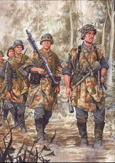 La Pintura y la Guerra. Sursumkorda in memoriam German Soldiers Ww2, German Army, Military Art, Military History, Mg34, Army Drawing, German Uniforms, Ww2 Uniforms, Luftwaffe