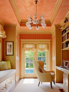 The Pink Pagoda: Jeffers Design Group, Fun orange patterned wallpaper, Pink ceilings, Comfy, White chair, French doors.