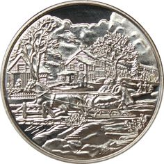 Gold And Silver Coins, Silver Rounds, Winter Scenes, 1 Oz, Holiday Gifts, Pure Products, Personalized Items, Art, Kunst