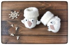 Owl Baby Booties for newborn. Sheep wool. 1oak!