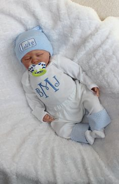 Baby Boy Coming Home from the Hospital. Monogram Bodysuit. Pants with Seersucker…