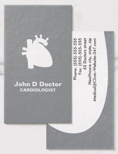 Modern gray cardiologist cardiology heart business cards. A modern and contemporary business card with a sleek and clean design featuring a human heart as a white silhouette against a gray background. Customizable text areas for name, specialty or clinic name and other contact information on the back. Elegant physician business card for cardiologists, cardiac surgeons and anyone working with the human heart. Medical business cards