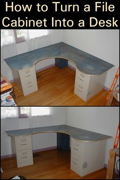 How to Turn a File Cabinet Into a Desk  Bring new life into your work area with this DIY project.