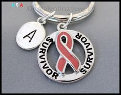 AWARENESS Ribbon / INITIAL Key Ring  by OhValentinaJewelry on Etsy
