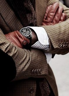 ♂ Masculine & elegance man's fashion accessories gloves watch