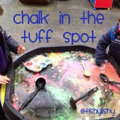 Chalk, water and a tuff spot - I love doing this, so colourful! Eyfs Activities, Nursery Activities, Outside Activities, Work Activities, Autumn Activities, Infant Activities, Outdoor Activities, Tuff Spot, Diwali Eyfs