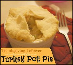 YUMMY!!  Turkey Pot Pie Recipe is a family favorite Thanksgiving Leftover Recipe! The flaky crust and creamy inside can be served as one large pot pie or individual portions.