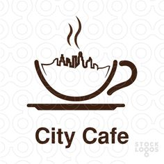 I like how they have used the liquid is made into the city scape. The used of like in this piece helps to depict the straight edges of the sky scapers. Coffee Shop Names, Coffee Shop Logo, Cafe Branding, Cafe Logo, Coffee Icon, Coffee Art, Make Your Own Logo, Coffee Design, Logo Food
