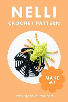Crochet amigurumi spider pattern   Garnknuten   Make this super cute amigurumi spider with this easy to follow crochet pattern. Perfect for halloween! Amigurumi Patterns, Crochet Patterns, Crochet Hook Sizes, Pattern Making, Crochet Toys, Spider, Halloween, Kids, Threading