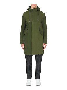CLOTHSURGEON Fishtail-hem woven parka coat