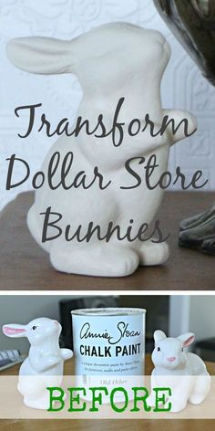 Bunnies - Dollar-Cheap to Super-Chic How to make rustic Easter/spring decor for cheap--paint dollar store ceramic bunnies with chalk paint!How to make rustic Easter/spring decor for cheap--paint dollar store ceramic bunnies with chalk paint! Spring Crafts, Holiday Crafts, Holiday Fun, Spring Home Decor, Hoppy Easter, Easter Eggs, Easter Food, Easter Dinner, Diy Décoration