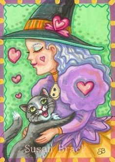 HEARTS AND HUGS - Black Cat Valentine, loves his witch.   Original Halloween and Valentine's Day Art By Susan Brack EBSQ
