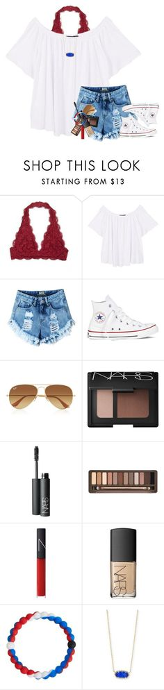 """Happy 4th!"" by smiles-iv ❤ liked on Polyvore featuring MANGO, Converse, Ray-Ban, NARS Cosmetics, Urban Decay, Lokai and Kendra Scott"