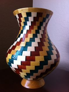 Red Yellow Green and White Spiral Segmented Wooden by KaveBowls, $295.00