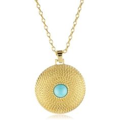 Gold and Turquoise color medallion necklace  #necklace #pendant #turquoise #jewelry