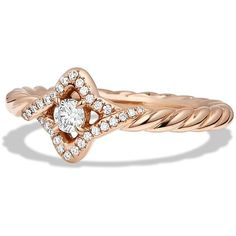 David Yurman Venetian Quatrefoil Ring with Diamonds in 18K Rose Gold ($1,550) ❤ liked on Polyvore featuring jewelry, rings, rose gold, pink gold rings, diamond jewellery, rose gold ring, 18k ring and rose gold jewelry