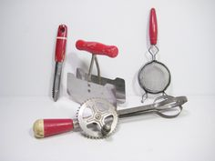 Retro Red Kitchen Utensils by PSSimplyVintage on Etsy