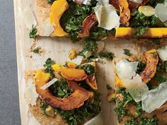 Spelt Focaccia with Kale, Squash and Pecorino | Paul Kahan serves dishes like spicy pork rinds at his Chicago restaurant, The Publican, but he was game to create a healthy alternative. His idea: a f...