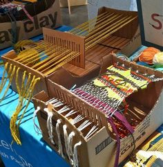 cardboard loom for weaving?! awesome