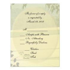 Summer Wedding Menu Summer Fields Wedding RSVP with Menu Card