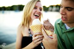 Creative Engagement Session Ideas | Ice Cream Cones at the Lake | Saint Paul, MN | See more Engagement Session Ideas here http://www.oneone.co/blog/engagement-session-favorites-of-2013