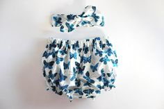 Organic Blue Butterflies, Baby Bloomer Set, Baby Headband, Baby Girl Headband, Baby Bloomers, Baby Girl Clothing, Coming Home Newborn Outfit